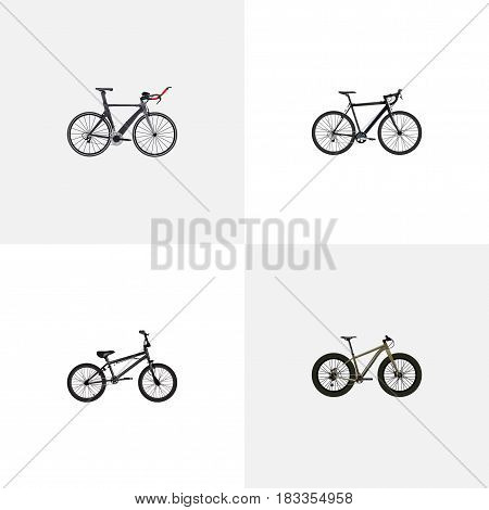 Realistic Extreme Biking, Cyclocross Drive, Bmx And Other Vector Elements. Set Of Bicycle Realistic Symbols Also Includes Bicycle, Cyclocross, Bmx Objects.