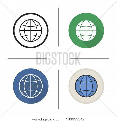 Globe icon. Flat design, linear and color styles. Earth spherical model. Isolated vector illustrations