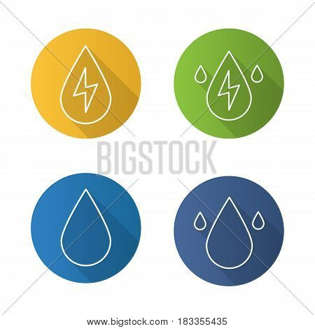 Water energy flat linear long shadow icons set. Water drops. Hydro power plant. Vector line illustration