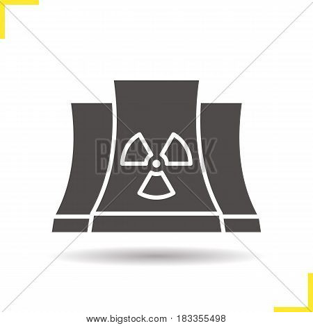 Nuclear power plant glyph icon. Drop shadow silhouette symbol. Radiation. Negative space. Vector isolated illustration