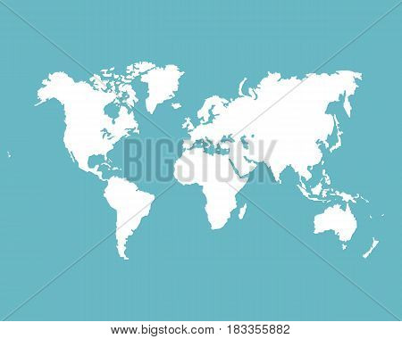 Monochrome Worldmap Vector template for website design cover annual reports infographics. Silhouette white world map on a blue background.