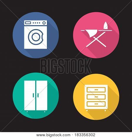 Furniture flat design long shadow icons set. Washing machine, dresser, wardrobe and ironing board. Vector silhouette illustration