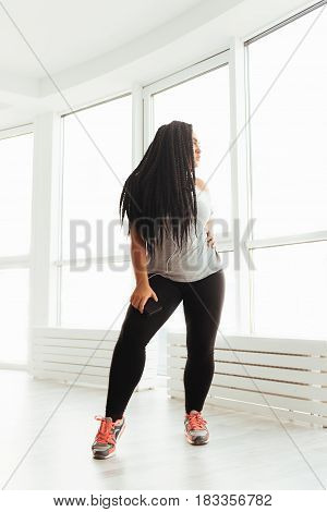 Real diva. Exotic curvy magnetic lady spending morning in dance studio and working on her performance while enjoying her hobby