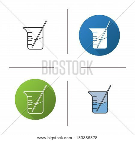 Beaker with rod and liquid icon. Flat design, linear and color styles. Chemistry experiment. Isolated vector illustrations