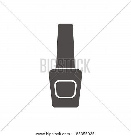 Nail polish bottle glyph icon. Silhouette symbol. Negative space. Vector isolated illustration