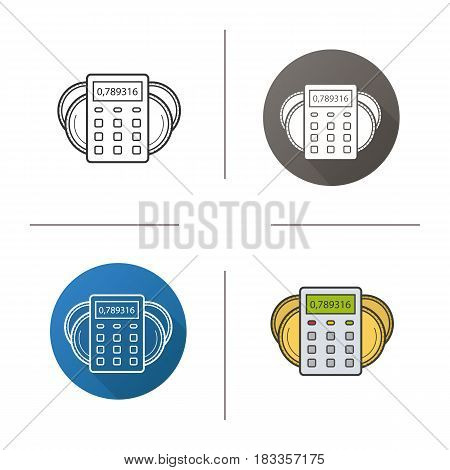 Income calculations icon. Flat design, linear and color styles. Calculator with coins. Financial planning. Isolated vector illustrations