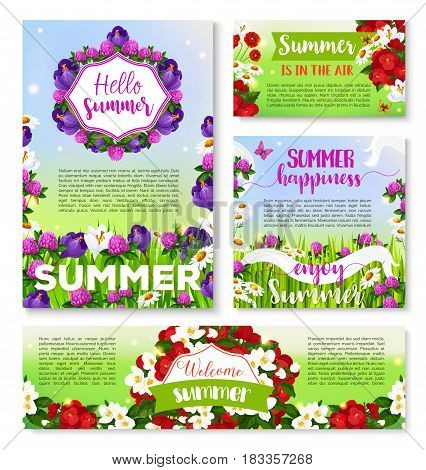 Hello Summer floral banner template. Summer flower field with green grass and butterfly greeting card and poster, decorated with floral frame of daisy, crocus, poppy, clover flowers and ribbon banner