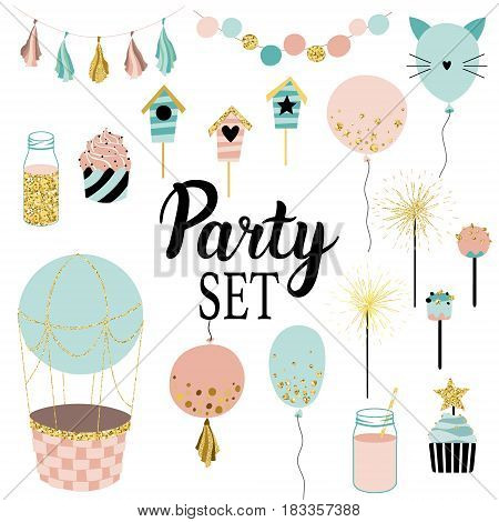 Party set of decorations toppers baloons cakes garlands with flags. Vector hand drawn illustration scandinavian style in mint ping colors with gold glittering elements.