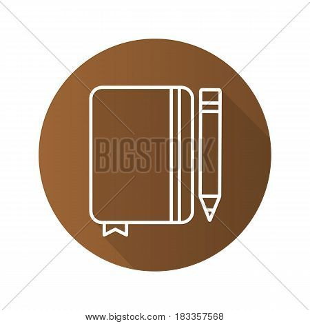 Diary notebook with pencil. Flat linear long shadow icon. Notepad with bookmark. Vector line symbol