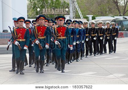 Volgograd Russia - May 07 2012: Dress rehearsal of Military Parade on 67th anniversary of Victory in Great Patriotic War on Victory day in Volgograd