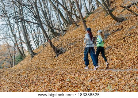 photo of back side of two attractive sports women jogging in autumn park. Blonde and african girls. Yellow leaves. Female smiling