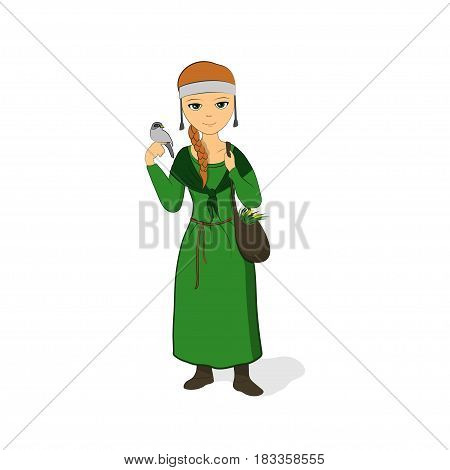 The girl is a healer in a green dress. Herbalist with a bag. Cleric with a bird on her arm. Vector illustration