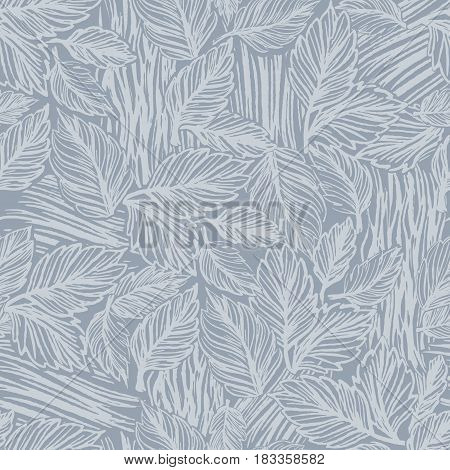 Seamless pattern with lace autumn leaves/Vector ornament with leaves/Ink hand drawn leaves
