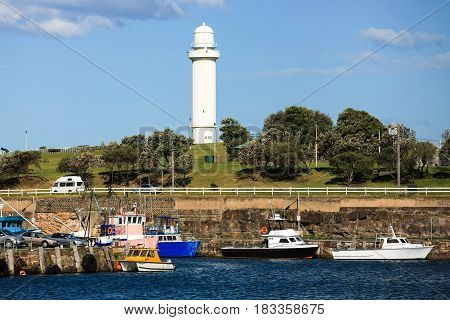 Belmore Basin, Wollongong harbour, with Wollongong Head Lighthouse