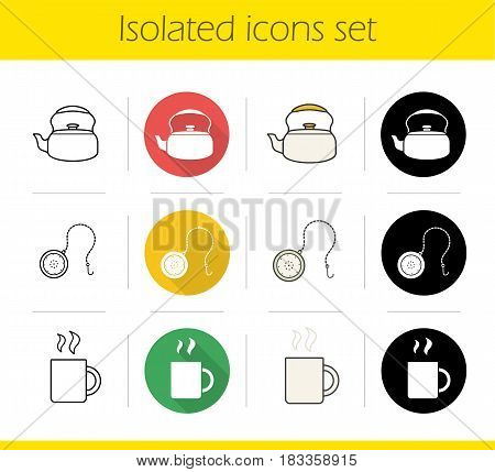 Tea icons set. Flat design, linear, black and color styles. Kettle, teaball infuser, hot steaming mug. Isolated vector illustrations