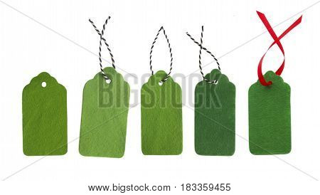 Gift tags of green colors. Sale labels. Price tags. Special offer and promotion. Store discount. Shopping time. Collection of green labels.