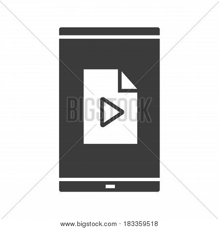 Smartphone media file icon. Silhouette symbol. Smart phone with multimedia file. Negative space. Vector isolated illustration
