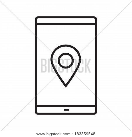 Smartphone gps location linear icon. Thin line illustration. Navigator. Smart phone with geolocation mark contour symbol. Map application. Vector isolated outline drawing