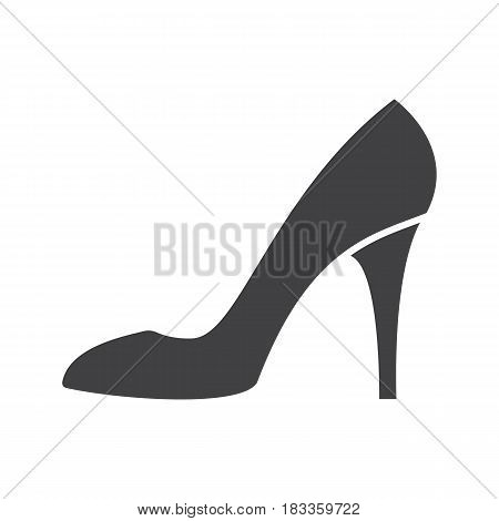 High heel shoe glyph icon. Silhouette symbol. Woman's shoe. Negative space. Vector isolated illustration