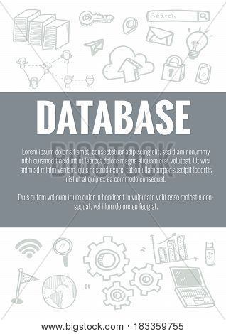 Vector Template For Database Theme With Hand Drawn Doodles Business Icon In Background.concept For B