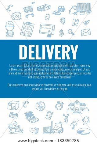 Vector Template For Delivery Theme With Hand Drawn Doodles Logistic Business Icons In Background.the