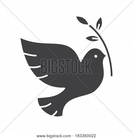 Dove with olive branch glyph icon. Peace Day silhouette symbol. Negative space. Vector isolated illustration