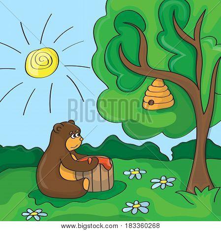 Funny vector cartoon scene cute bear with honey
