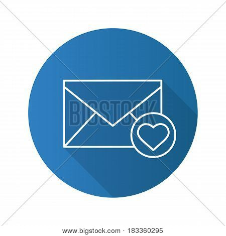 Love letter flat linear long shadow icon. Valentines Day correspondence. Vector line symbol