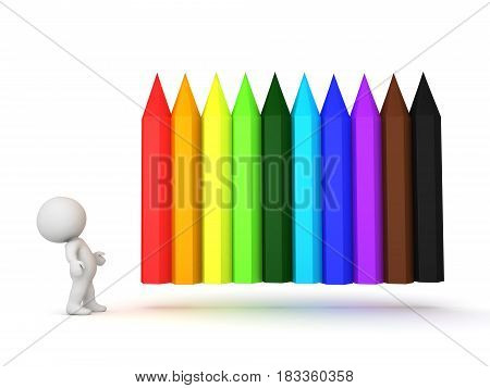 3D Character looking at rainbow colored crayons which are positioned horizontally. They can considered pencils as well.