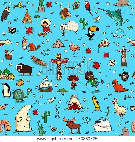 Around the World seamless pattern in colors on blue background. Collection of various isolated objects sights animals and characteristic. Illustration is eps10 vector background separated.