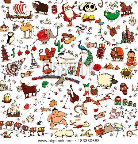 Around the World seamless pattern in colors on white background. Collection of various isolated objects sights animals and characteristic. Illustration is eps10 vector background separated.