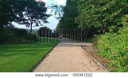 A footpath in a park on a sunny day