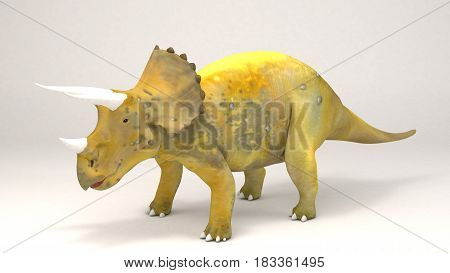 3D Computer rendering illustration of Triceratops - Dinosaur