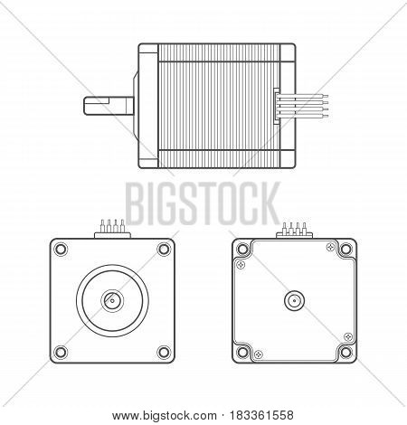 black outline monochrome stepper electric motor different angles illustration isolated white background