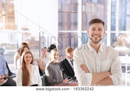 Young man at business presentation
