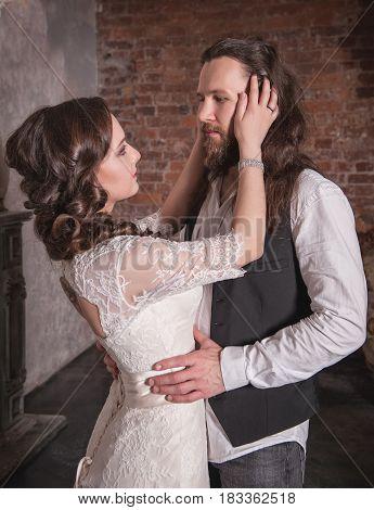 Lovely Wedding Couple In Retro Style