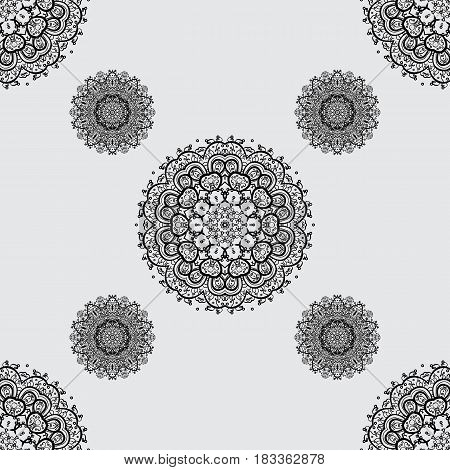 Vector seamless pattern with dim antique floral medieval decorative leaves and dim pattern ornaments on gray background. Seamless royal luxury dim baroque damask vintage.