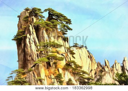 Colorful painting of lonely cliff, Mount Huangshan, China