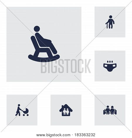 Set Of 6 People Icons Set.Collection Of Rocking Chair, Perambulator, Family In Home And Other Elements.