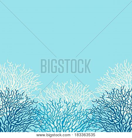 Cute sea life vector background with corals. Frame with underwater elements