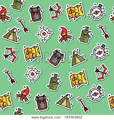 Hunting concept icons pattern. Vector illustration, EPS 10