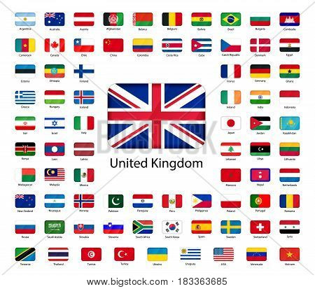 Set of glossy icons of flags of world sovereign states isolated on white