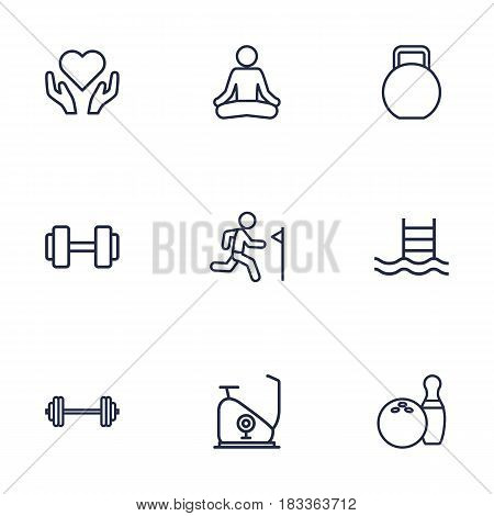 Set Of 9 Training Outline Icons Set.Collection Of Training, Exercise Bike, Kettlebells And Other Elements.