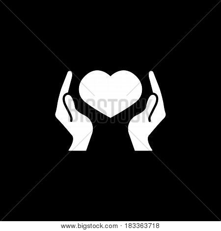 Hearth in hands solid icon, mothers day, mom care vector graphics, a filled pattern on a black background, eps 10.