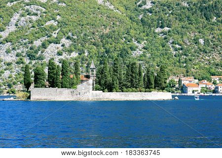Our Lady of the Rocks, Montenegro. Kotor bay, Montenegro. Adriatic sea