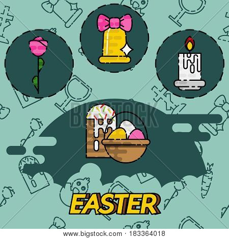Colorful spring Easter flat concept icons for web design and postcards