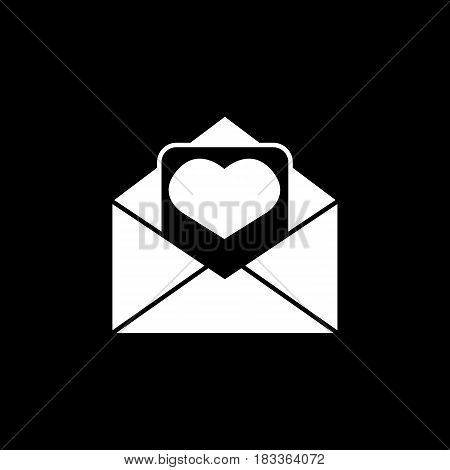 Love letter solid icon, mothers day card, envelope with hearth vector graphics, a filled pattern on a black background, eps 10.