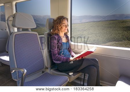Woman In Train Reading Book