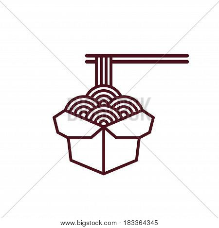 Chinese noodles in takeout box with chopsticks. Asian fast food illustration. Simple modern vector line icon.