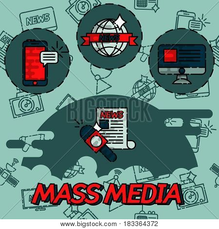 Mass media flat concept icons for infographics design web elements